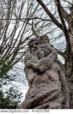 Vilnius, Lithuania - March 14, 2021: A Sculpture Of The Guardian Of Vilnius, Saint Christopher Statu