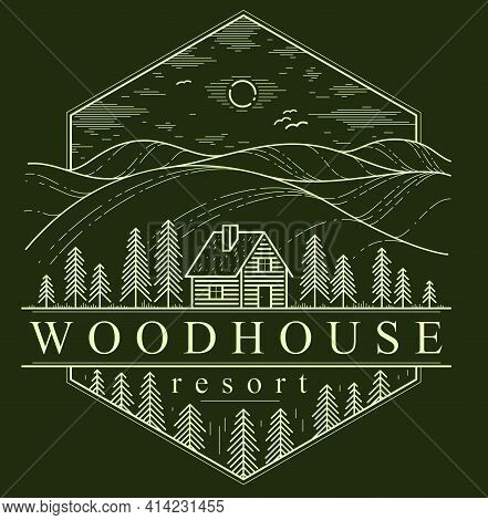 Cabin In Grasslands And Meadows With Pine Trees Linear Vector Nature Emblem On Dark, Log Cabin Cotta