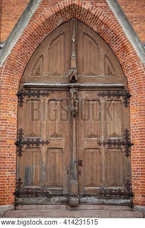 Ornate Entrance Of Church Of St Matthew The Apostle In Nepriklausomybes Square Of Rokiskis, Lithuani