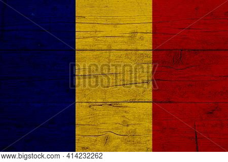 Flag Of Romania. Wooden Texture Of The Flag Of Romania.