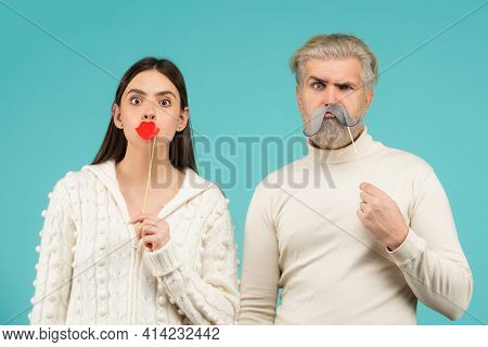 Couple With With Fake Mustache And Lips. Having Fun. Photo Booth Concept. Couple Having Fun With Wit