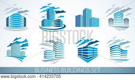 City Building Business Financial Office Vector Designs Set. Futuristic Architecture Illustrations Co