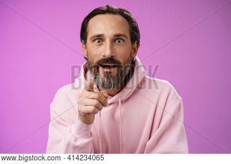 Fascinated Amused European Bearded Mature Guy Widen Eyes Shocked Open Mouth Recognize Person Pointin