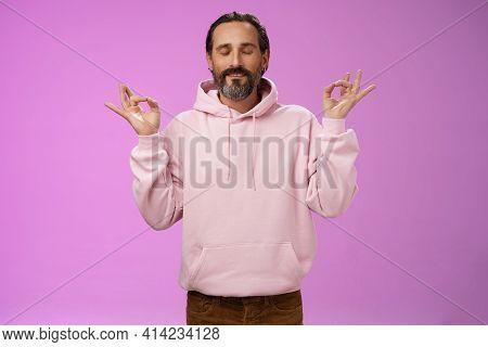 Peaceful Charming Hipster Old Man Wearing Cool Pink Hoodie Close Eyes Breathing Practice Release Str