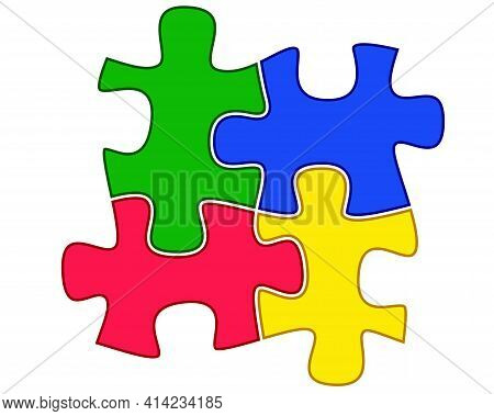 Puzzles - Vector Full Color Illustration. Puzzles - A Symbol Of Autism. Four Colorful Puzzles Put To