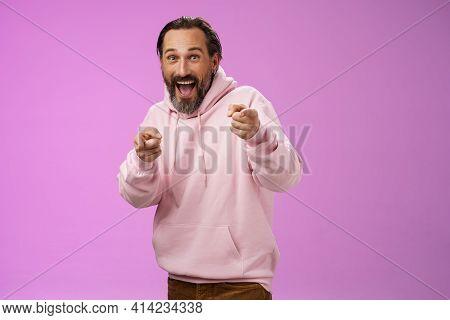 Gotcha. Portrait Carefree Funny Amusing Adult Energized Bearded Man Jumping Pranking Friend Having F