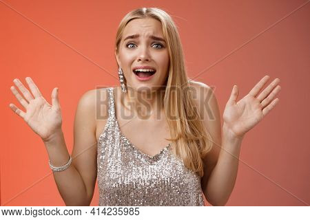 Freaked-out Nervous Young Girl Worry Party Not Go Well Panicking Gesturing Raised Hands Worried Frow