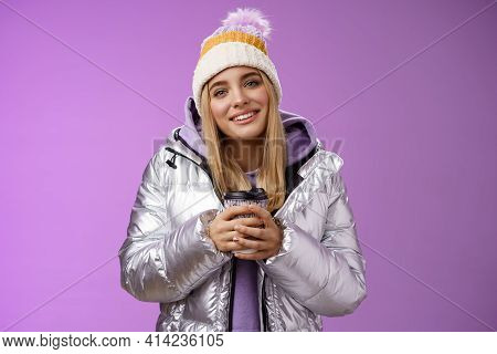 Tender Relaxed Cheerful Smiling Blond Girl Look Pleased Relieved Drinking Hot Coffee Cacao Enjoying