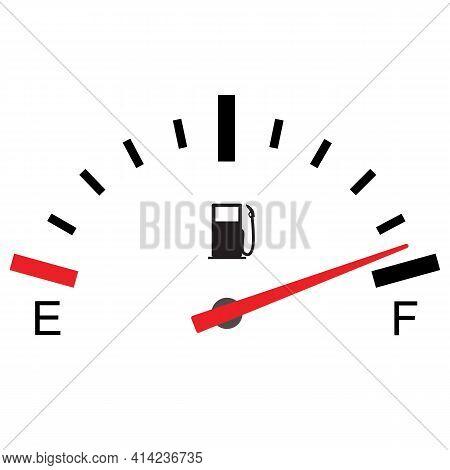 Fuel Gauge Full On White Background. Flat Style. Fuel Indicator Sign. Fuel Symbol.