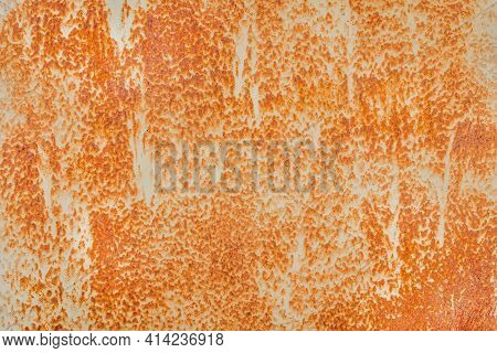 Old Rusty Metal Wall Texture, Corrosion Orange Abstract Pattern Background.