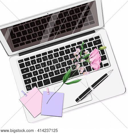 Beautiful Flat Lay Set With Laptop, Pen, Stickers And Flower. Notebook With Keyboard On Table. Workp