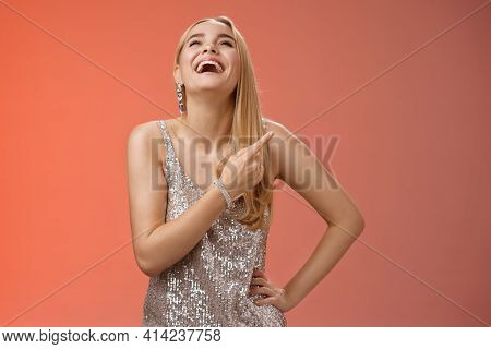 Fabulous Carefree Attractive Blond Woman In Silver Evening Party Dress Laughing Out Loud Have Fun Ra