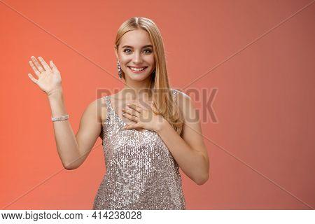 Happy Blond Girl Say Hi Introduce Herself Boyfriend Friends Raise Hand Waving Hello Hi Gesture Press