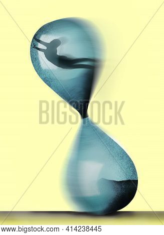A Man Trapped Inside An Hourglass Rocks It As He Tries To Escape. This Is A 3-d Illustration About I
