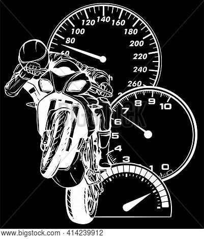 White Silhouette Of Motorbike Rider, Abstract Vector. Road Motorcycle Racing
