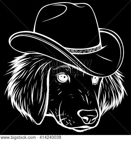White Silhouette Of Gangster Dog With Fedora Hat On Black Background