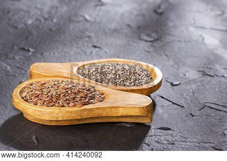 Healthy Chia And Flax Seeds. Linum Usitatissimum - Salvia Hispanica