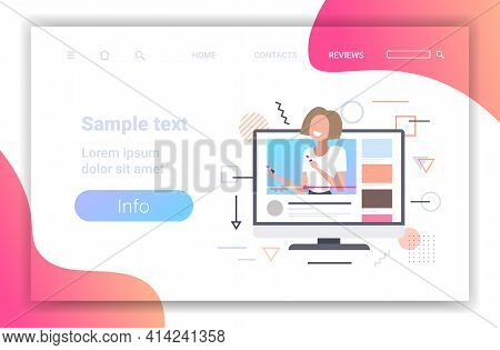 Beauty Blogger Applying Lipstick Woman Showing Trend Makeup Tutorial Online Video On Monitor Screen