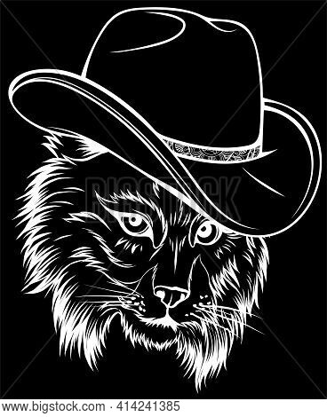 White Silhouette Of Wild Cat, Lynx, Bobcat, Trot Hand Top Hat, Cylinder.