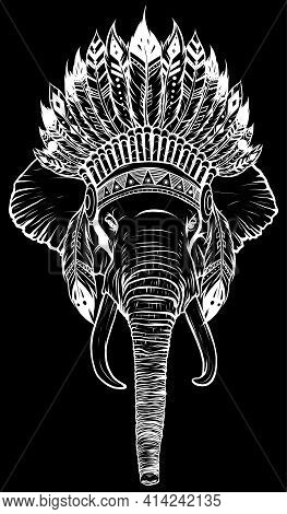 White Silhouette Of Elephant Head With American Indian Chief Headdress.