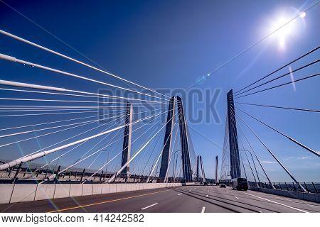 Crossing The Governor Mario M. Cuomo Bridge (former Tappan Zee Bridge). It Is Spanning The Hudson Ri