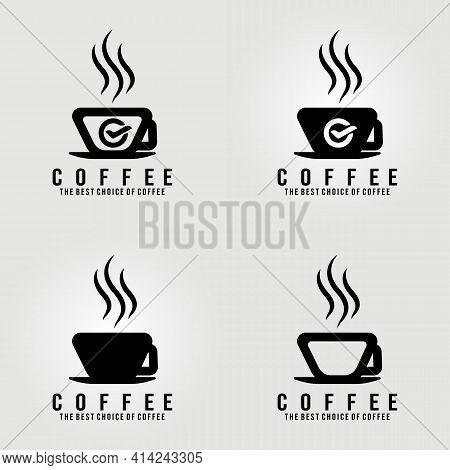 A Cup Of Coffee, Coffee Shop Logo , Clever Vector Illustration Logo Design, Set Logo, Cafe Logo Desi