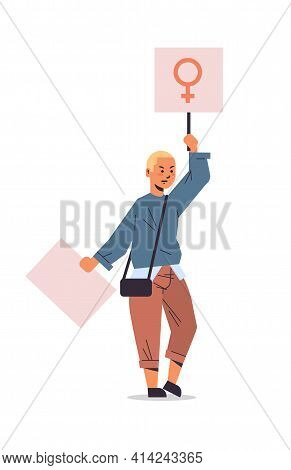Woman Activist Protesting Holding Placard With Female Gender Sign Feminist Demonstration Girl Power