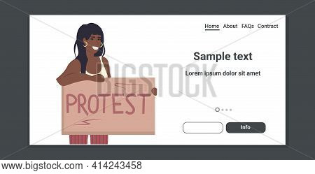 Woman Activist Protesting Holding Protest Placard Feminist Demonstration Girl Power Movement Rights