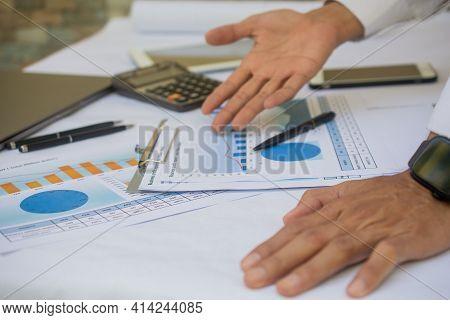 Man Check Business Profit Report Soft Focus