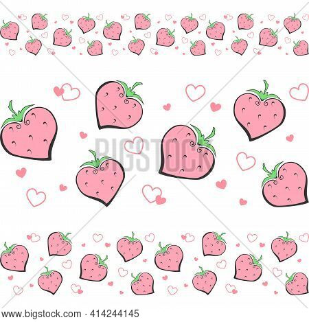 Decorative Strawberries And Small Hearts On A White Background. Vector Seamless Border, Horizontal P