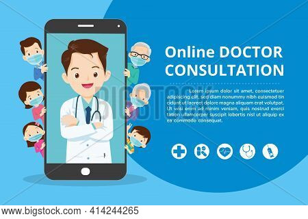 Family With Mobile App Family Doctor. Family Using Mobile Application, Control Health Indicators, Co