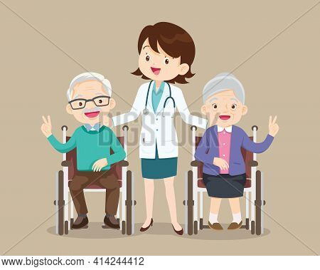 Elderly Sit On A Wheelchair With Doctor Take Care.disabled Person In The Wheelchair And Doctors. Car