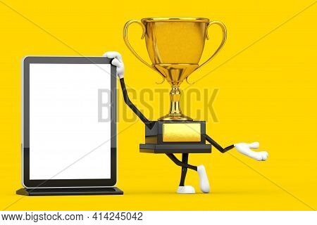Golden Award Winner Trophy Mascot Person Character With Blank Trade Show Lcd Screen Display Stand As
