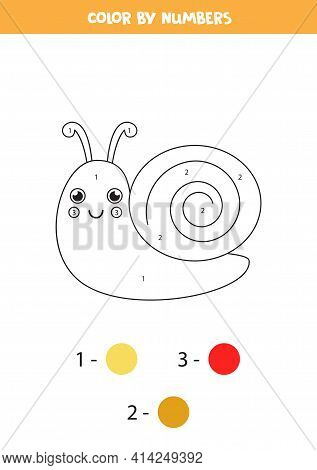 Coloring Page With Cute Snail. Color By Numbers. Math Game For Kids.