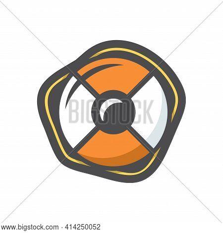 Lifebuoy Orange Color Vector Icon Cartoon Illustration