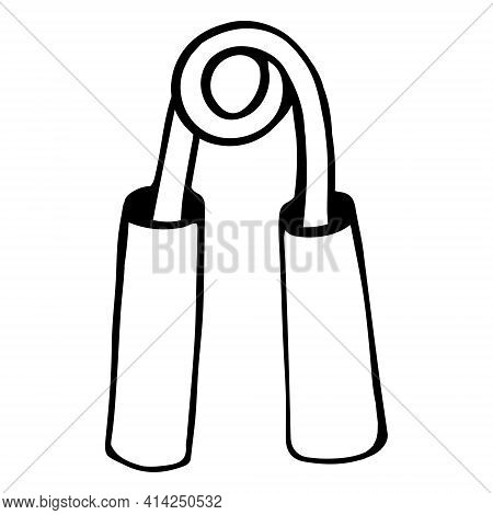 Hand Expander Vector Icon. Isolated Vector Illustration Of A Sports Tool. Black Contour Expander, Do