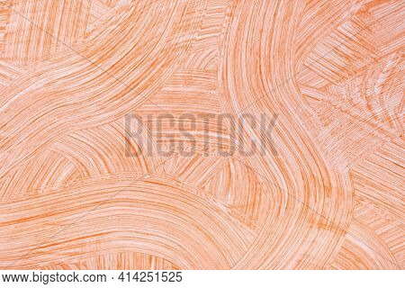 Abstract Art Background Light Orange And White Colors. Watercolor Painting On Canvas With Coral Stro