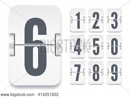 Vector Flip Scoreboard Template With Light Numbers With Shadows For White Countdown Timer Or Calenda