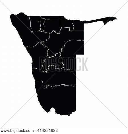 Namibia Country Map Vector With Regional Areas