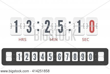 White Scoreboard Countdown Number Font. Vintage Flip Clock Time Counter Vector Template. Retro Desig
