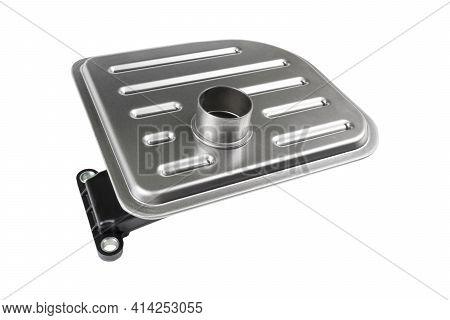 Oil Filter Or Strainer For Automatic Transmission. Top View Of A New Replacement Part Isolated On A