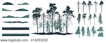 Silhouette Of Forest. Creating Woodland Of Pines, Fir Trees, Grass, Hill. Constructor, Set Of Design