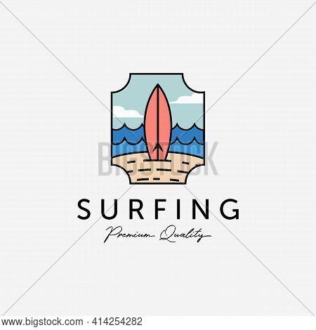 Emblem Of Beach Vacation Surfing Vector Logo, Vintage Design Of Surf Extreme Sport, Colorful Illustr