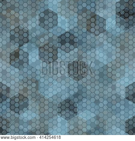 Texture Military Pastel Blue Colors Naval Camouflage Seamless Pattern