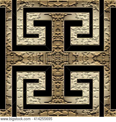 Textured Greek Seamless Pattern. Tribal Ethnic Style Ornamental Vector Background. Repeat Patterned
