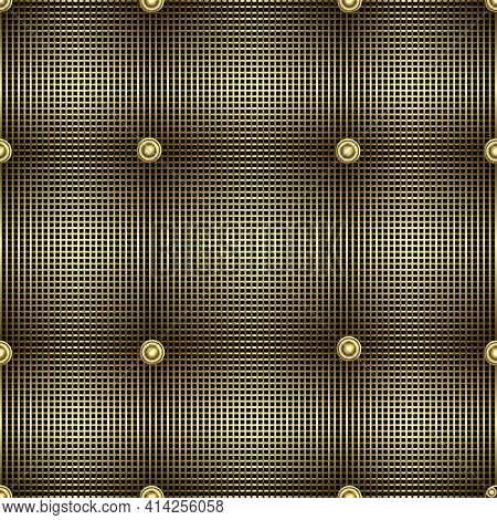 Waffle 3d Quilt Vector Seamless Pattern. Surface Textured Quilted Backgrond. Geometric Ornamental Re