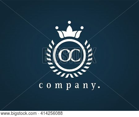 Letter Oc, O Or C Laurel Wreath Logo. Beautiful Calligraphy With A Crown. The Elegant Emblem For Roy