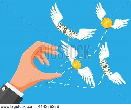 Dollars And Coins With Wings Flying Away From Hand. No Money, Poor Man. Economy Problem Or Financial