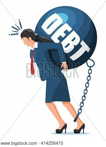 Businesswoman Chained To Big Heavy Debt Weight With Shackles. Character Tied By Chain To Large Dumbb