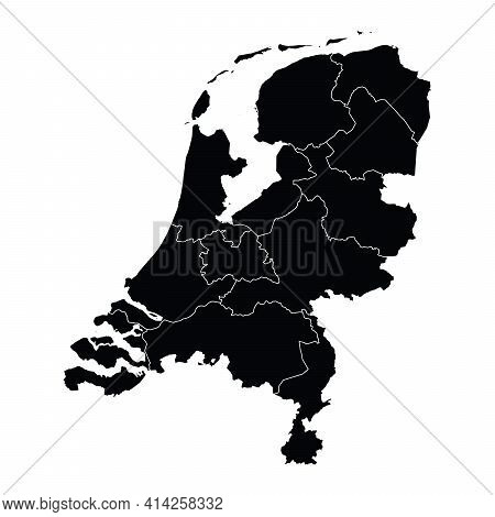 Netherlands Country Map Vector With Regional Areas
